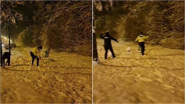 """Urmare a apelului la 112 a unor cetățeni indignați, polițiștii s-au luat la """"bătaie"""" cu bulgări de zăpadă cu câțiva copii!"""